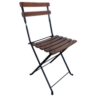 French Cafe Bistro Folding Side Chair, Set of 2, Black Frame, Chestnut Slats