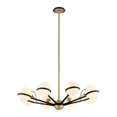 Troy Lighting F5304 Ace 8 Light Chandelier, Textured Bronze Brushed Brass