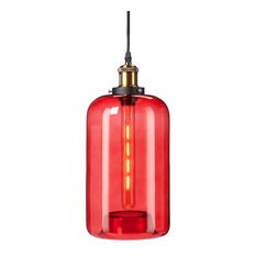 Southern Enterprise   Coraline Colored Glass Mini Pendant Lamp, Red   Pendant  Lighting