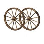 """24"""" Wooden Wagon Wheels, Steel-Rimmed Wooden Wagon Wheels, Set of 2"""