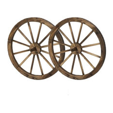 """Home Garden Collections - 24"""" Wooden Wagon Wheels, Steel-Rimmed Wooden Wagon Wheels, Set of 2 - Garden Statues and Yard Art"""