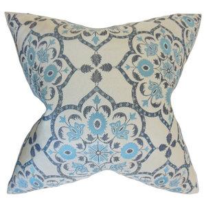 "Nyasia Geometric Pillow, Blue 18""x18"""