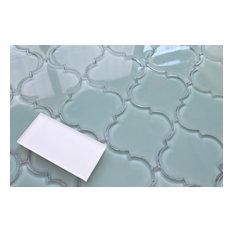 "Seaside Arabesque Glass Mosaic Tile, 12""x12"""
