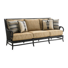 """All-Weather Wicker Sofa, Bamboo Frame, 91"""""""