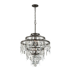 "Bistro, Chandelier, 25""W, Graphite Finish, Antique Pewter and Crystal Drops"