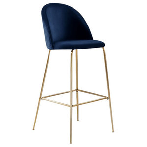 Millennial Brass Velvet Upholstered Dining Bar Stool, Royal Blue, 75 cm