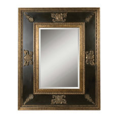 "Extra Large 60"" Ornate Black Gold Wall Mirror, Oversize Dark Masculine Antique"