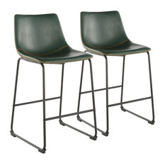 "Lumisource Duke 26"" Counter Stool, Green Leather and Orange Stitching, Set of 2"