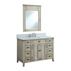 "46"" Benton Distressed Beige Abbeville Vanity, With Backsplash and Mirror"