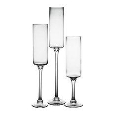 Hurricane Stemmed Glass Pillar Candle Holder, Set of 3