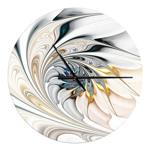 White Stained Glass Floral Art Large Modern Metal Clock, 23x23