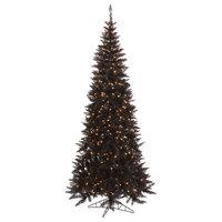 Vickerman Fir Tree With Metal Stand, Tree: Black, Lights: Clear, 9'