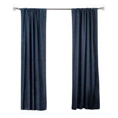 Indian Selections   Navy Blue Rod Pocket Velvet Curtain, Drape And Panel,  43x84,