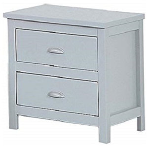 Bedside Cabinet in Grey Solid Pine MDF with 2 Drawers for additional Storage