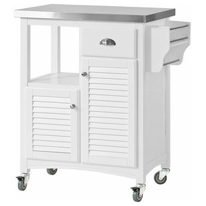 Modern Serving Trolley Cart, MDF and Pine Wood Frame, Stainless Steel Top