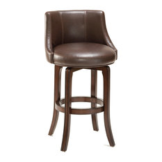 Napa Valley Swivel Stool, Brown Leather, Counter Height