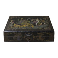 Chinese Distressed Black Birds Graphic Rectangular Shape Box Hcs4681