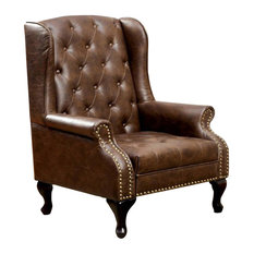 Traditional Wing Accent Chair, Nail Head, Rustic Brown Finish