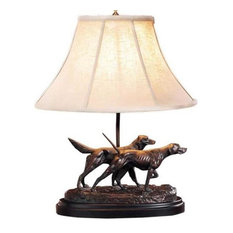 Sculpture Table Lamp Pair Pointing Dogs Hand