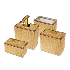Starlight Square Bathroom Accessories Set With Swarovski, 4 Piece
