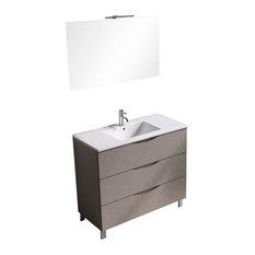 Marte Bathroom Vanity, Light Brown, White and Chrome, 101 cm