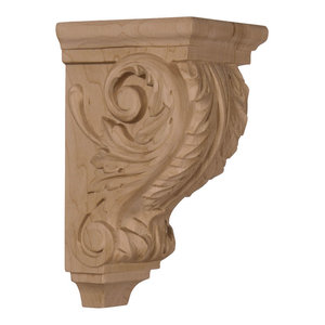 Small Acanthus Wood Corbel, Red Oak, 3 1/2