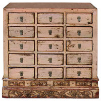 Chinese Distressed Mauve Beige 15 Drawers Medicine Apothecary Cabinet Hcs4602