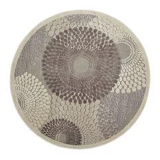 "Graphic Illusions Area Rug, Gray, 5'3"" Round"