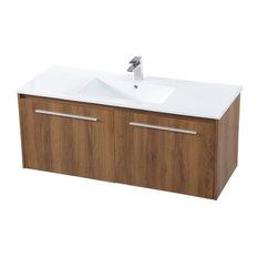 "Elegant Decor Tessa 48"" Single Porcelain Top Floating Bathroom Vanity in Walnut"