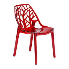 Leisuremod Cornelia Hollow Back Lucite Dining Chair, Transparent Red