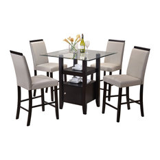 Pilaster Designs 5-Piece Counter Height Dining Set Table And 4 Chairs Gray