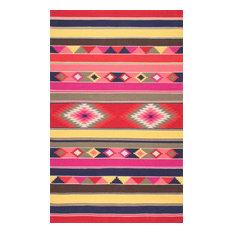 "Geometric Flatweave Wool Tribal Kilim Area Rug, Multi, 8'6""x11'6"""