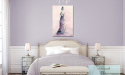 Feminine Lavender Bedroom with Purple and Pink Canvas Art