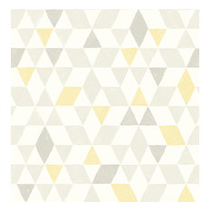 Brewster - Scandi Yellow Triangles Wallpaper, Swatch - Wallpaper