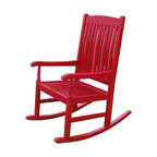 Outdoor Wood Porch Rocker, Red