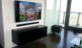 TV wall mounted with Floating Media shelve and Soundbar