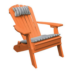 Outdoor Poly Lumber Folding and Reclining Adirondack Chair, Orange
