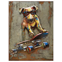 """""""Dog on skateboard"""" Mixed Media Iron Hand Painted Dimensional Wall Decor"""
