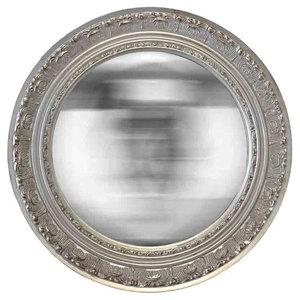 EMDE Round Chiselled Silver Mirror
