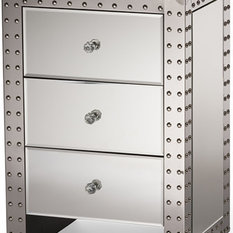 Azura Modern Hollywood Regency Glamour Style Nightstand Bedside Table, Silver