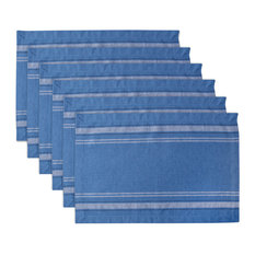 DII Blue Chambray French Stripe Placemat, Set of 6