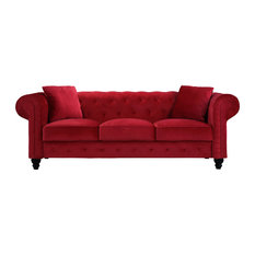 Sofamania   Traditional Velvet Upholstered Chesterfield Sofa With Accent  Pillows, Red   Sofas