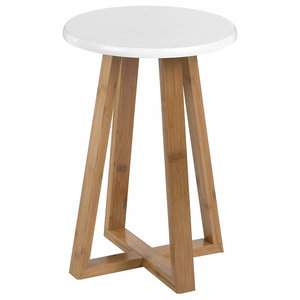Traditional Round Stool in Natural Finished Bamboo Wood With Outwards Legs