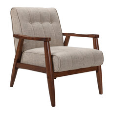 Inspire At Home   Mid Century Fabric Accent Chair, Khaki   Armchairs And  Accent Chairs