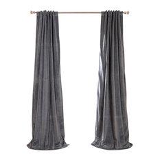 exclusive fabrics u0026 furnishings llc signature natural gray blackout velvet curtain single panel