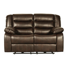 Bennet Brown Faux Leather Manual Motion Loveseat
