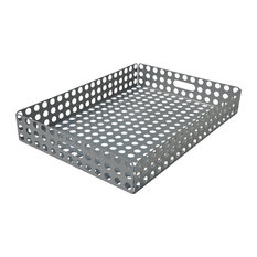 Perforated Steel Serving Tray, Metallic Silver