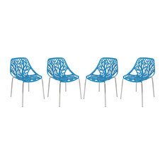 LeisureMod Modern Asbury Dining Chairs With Chromed Legs, Set of 4, Blue