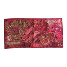 Mogul Interior - Decorative Pink Vintage Patchwork Embroidered Sequin Beaded Wall Tapestry - Tapestries