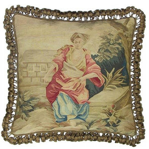 """New Aubusson Throw Pillow 22""""x22""""  Country Woman Pink/Brown/Beige"""